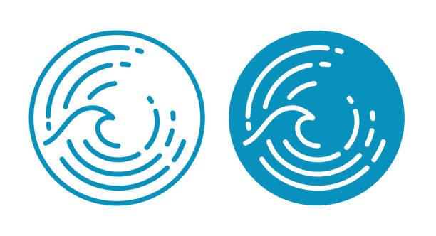illustrations, cliparts, dessins animés et icônes de symbole de vague d'océan - desastre natural