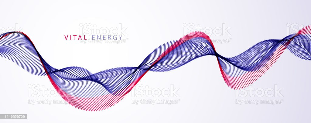Wave Of Flowing Particles Modern Relaxing Illustration Round