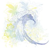 vibrant pastel composition of a wave and hibiscus flowers, Hawaiian style- 300 dpi jpeg included