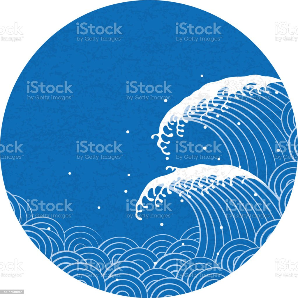 wave. pattern of Japanese style. vector art illustration