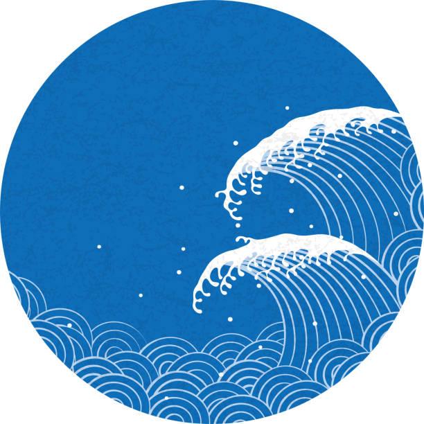wave. pattern of Japanese style. vector art illustration