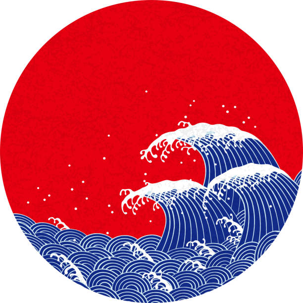wave. pattern of japanese style. - tidal wave stock illustrations, clip art, cartoons, & icons