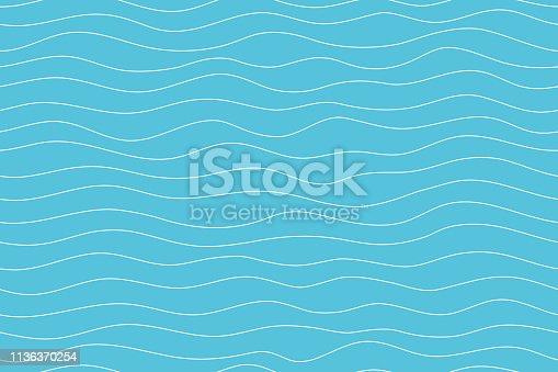 istock Wave pattern seamless abstract background. Lines wave pattern white on blue background for summer vector design. 1136370254