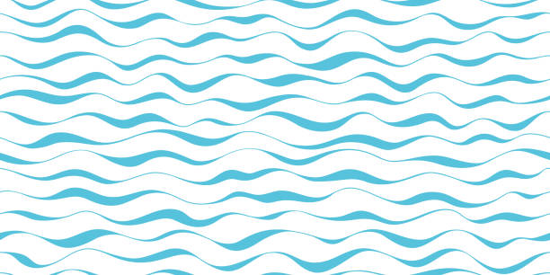 wzór fali bez szwu abstrakcyjne tło. paski fali wzór niebieski na białym tle do letniego projektu wektora. - fala woda stock illustrations