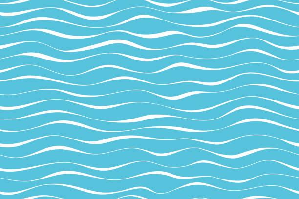 wzór fali bez szwu abstrakcyjne tło. paski fali wzór biały na niebieskim tle do letniego projektu wektora. - fala woda stock illustrations