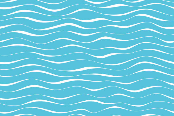 Wave pattern seamless abstract background. Stripes wave pattern white on blue background for summer vector design. Wave pattern seamless abstract background. Stripes wave pattern white on blue background for summer vector design. wave water stock illustrations
