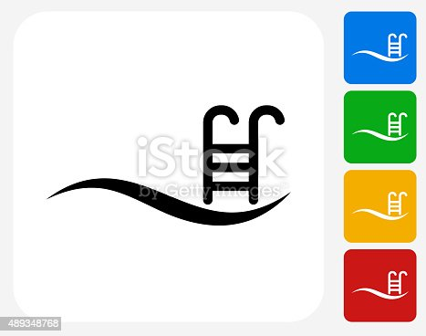 Wave pool icon flat graphic design stock vector art more for Pool design graphic