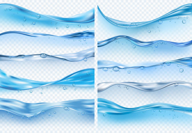 stockillustraties, clipart, cartoons en iconen met wave realistische spatten. vloeibaar wateroppervlak met bubbels en spatten oceaan of zee vector achtergronden - depth vector