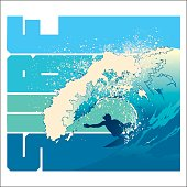 Surfer inside a pipeline wave with SURF lettering motif