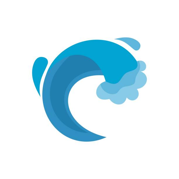 wave sea icon, flat style - tidal wave stock illustrations, clip art, cartoons, & icons