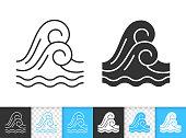 Wave sea water simple black line vector icon