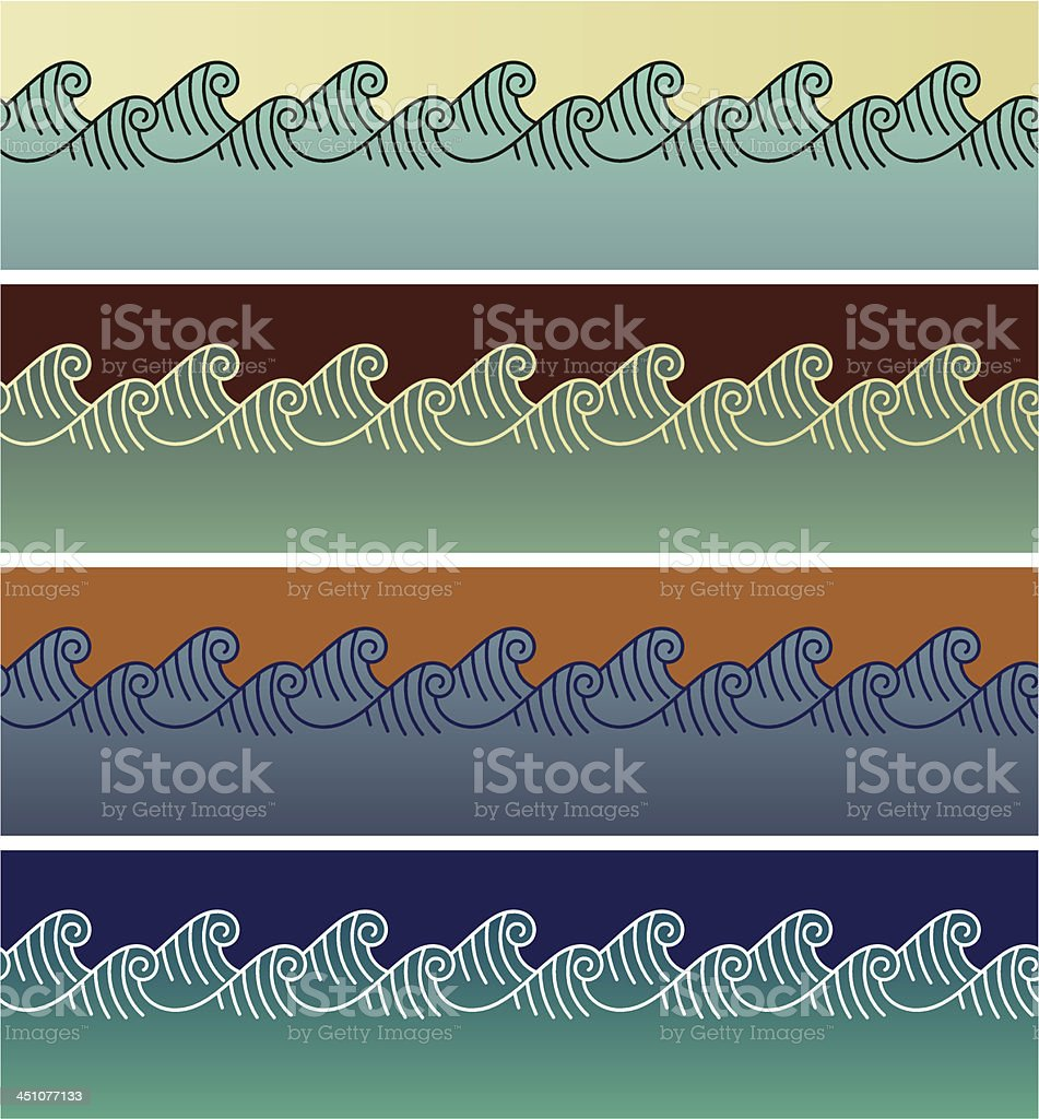 Wave seamless patterns royalty-free stock vector art