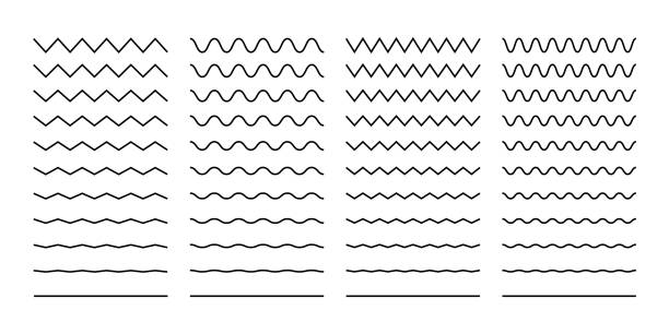 Wave set in abstract style on white background. Decoration element. Geometric design. Vector illustration ocean. Vector line design. Vector sound wave. Vector graphic set. Wave set in abstract style on white background. Decoration element. Geometric design. Vector illustration ocean. Vector line design. Vector sound wave. Vector graphic set. EPS 10 squiggle stock illustrations