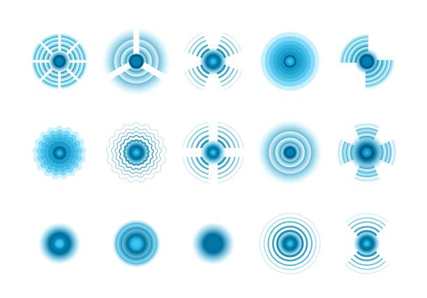 Wave signals. Blue graphic symbols of wave concentric circular radio pulsations. Vector icons set Wave signals. Blue graphic symbols of wave concentric circular radio pulsations. Vector circle icons set rippled stock illustrations