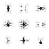 istock Wave sonar. Radar with signal. Icon of pulse. Concentric sound circle. High sonic frequency with vibration in air. Noise and energy from speaker. Symbol of radio, military protection and scan. Vector 1265003110