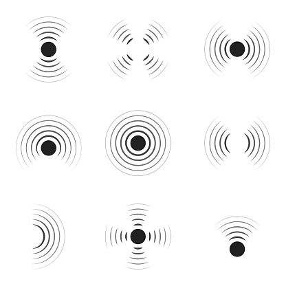 Wave sonar. Radar with signal. Icon of pulse. Concentric sound circle. High sonic frequency with vibration in air. Noise and energy from speaker. Symbol of radio, military protection and scan. Vector.