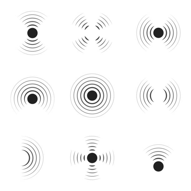 Wave sonar. Radar with signal. Icon of pulse. Concentric sound circle. High sonic frequency with vibration in air. Noise and energy from speaker. Symbol of radio, military protection and scan. Vector Wave sonar. Radar with signal. Icon of pulse. Concentric sound circle. High sonic frequency with vibration in air. Noise and energy from speaker. Symbol of radio, military protection and scan. Vector. sine wave stock illustrations