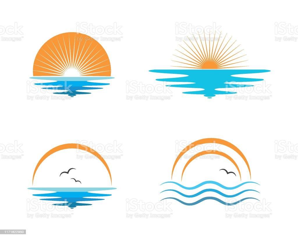 wave sun logo icon vector illustration design wave sun logo icon vector illustration design template Beach stock vector