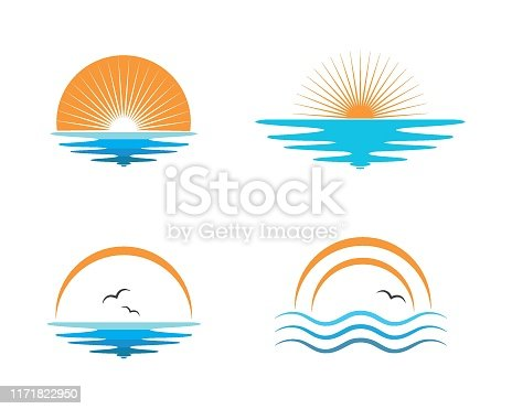 wave sun logo icon vector illustration design template