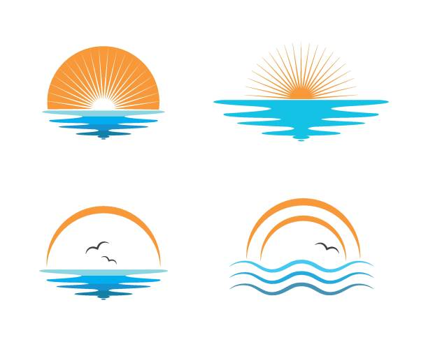wave sun logo icon vector illustration design wave sun logo icon vector illustration design template water bird stock illustrations