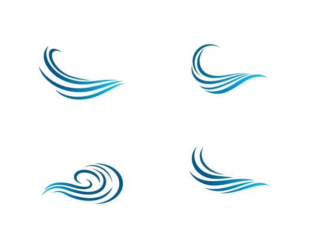 stockillustraties, clipart, cartoons en iconen met wave symbool illustratie - wind