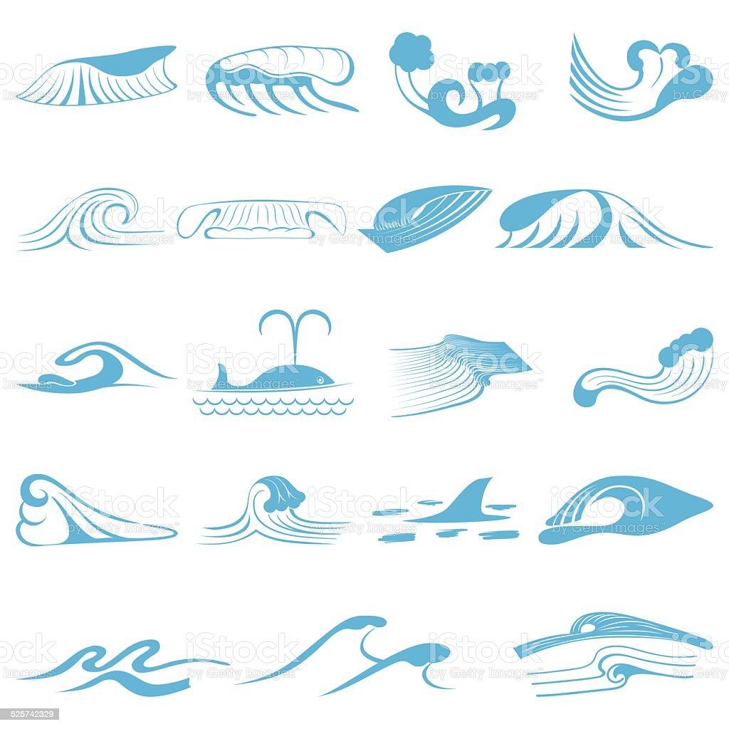 Wave symbols set for design isolated on white background vector art illustration
