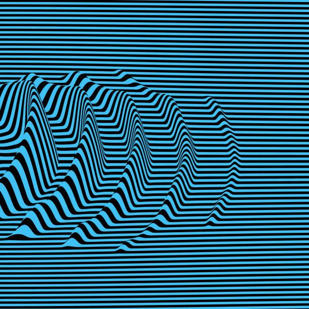 wellenform-hintergrund. dynamische optik. oberfläche verzerrung. muster mit optische täuschung. gestreifte vektor-illustration. schallwellen. - schütteln stock-grafiken, -clipart, -cartoons und -symbole