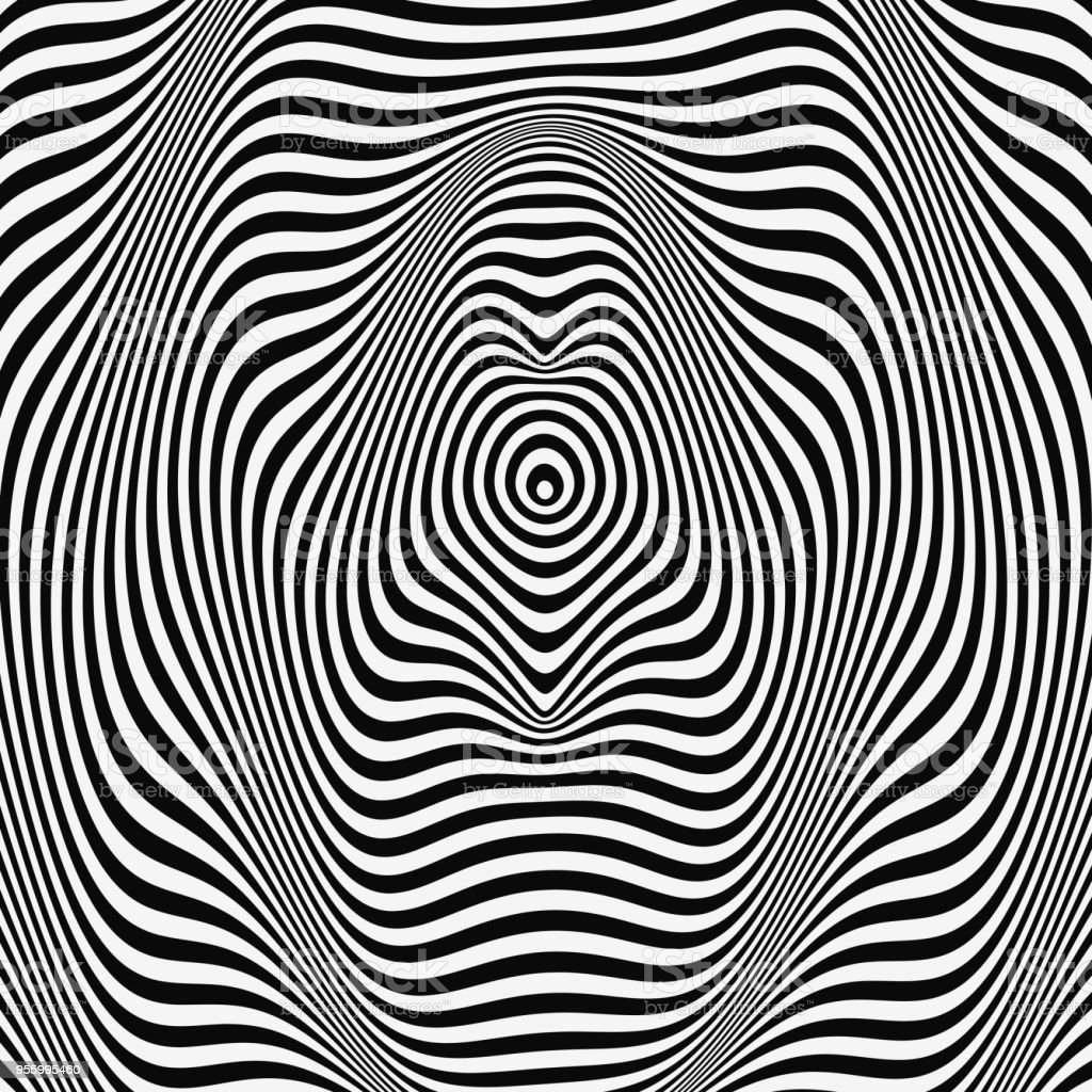 Waveform background. Dynamic visual effect. Surface distortion. Pattern with optical illusion. Vector striped illustration. Black and white sound waves. vector art illustration