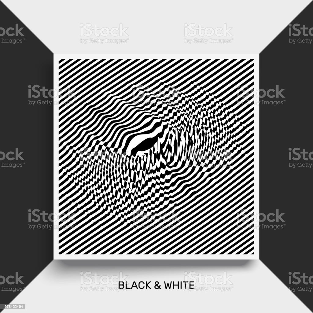 Waveform background. Surface distortion. Pattern with optical illusion. Vector striped illustration. Black and white sound waves. Cover design template. vector art illustration
