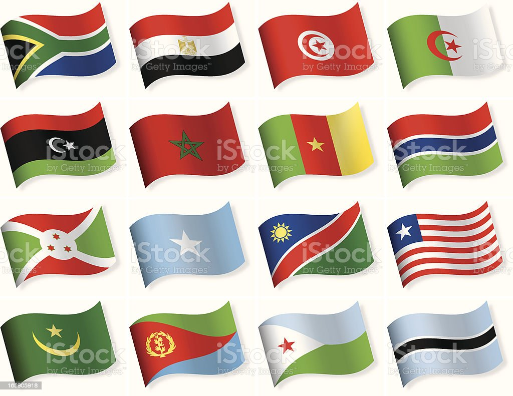 Waveform Flag Icon collection - Africa vector art illustration