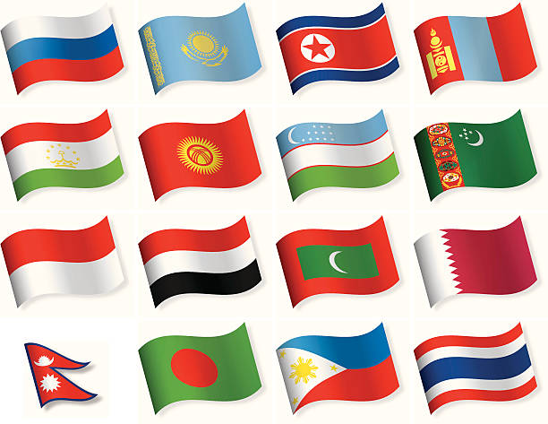 waveform flag icon collection - asia - thai flag stock illustrations, clip art, cartoons, & icons