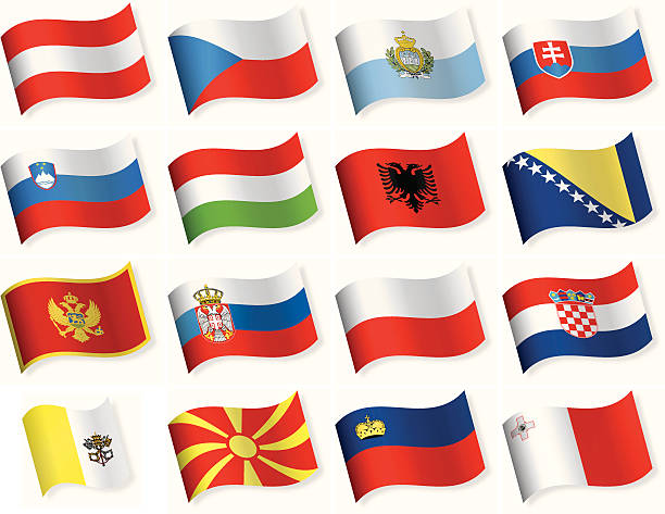 waveform flag icons - central and southern europe - polish flag stock illustrations