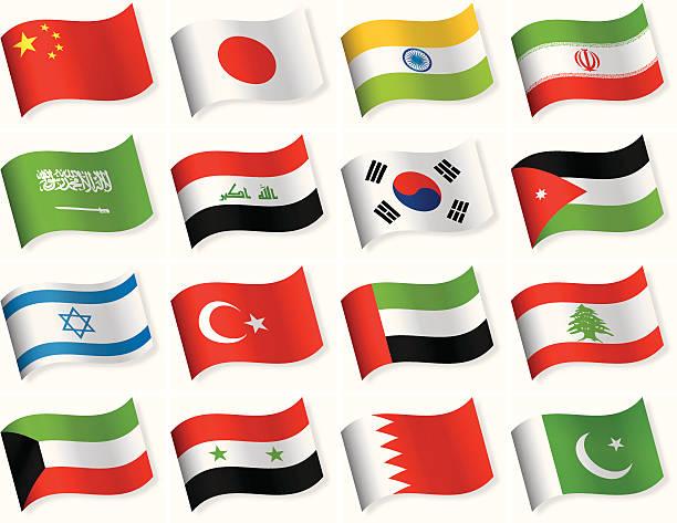파형 주기 아이콘 컬레션-아시아 - uae flag stock illustrations