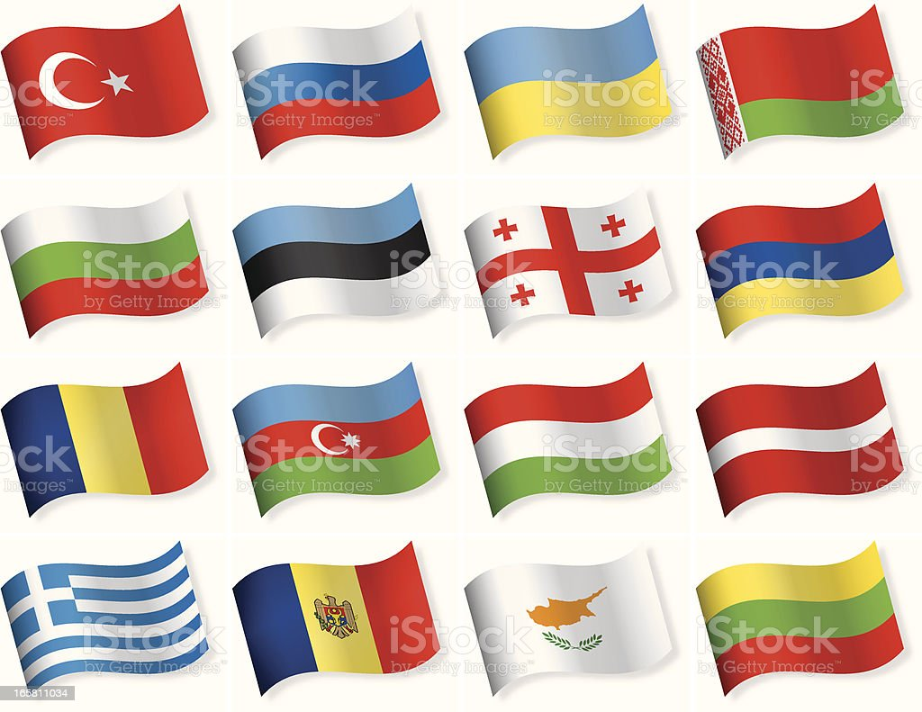 Waveform Flags collection - East and Southern Europe royalty-free stock vector art