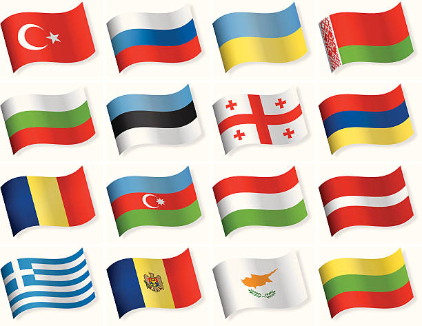 Waveform Flags collection - East and Southern Europe European Flags Collection azerbaijan stock illustrations