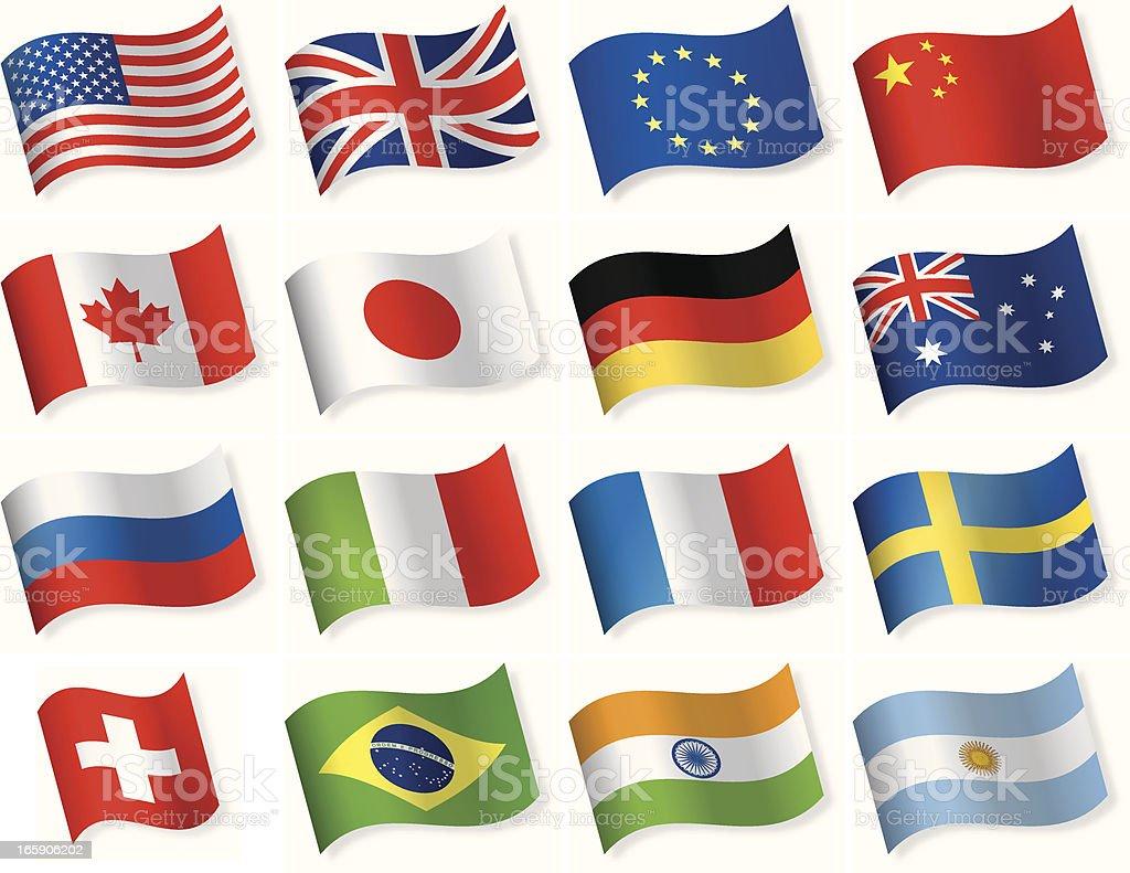 Bandera más popular iconos de forma de onda - ilustración de arte vectorial