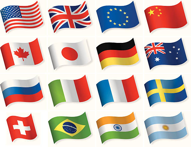 Waveform most popular flag icons vector art illustration