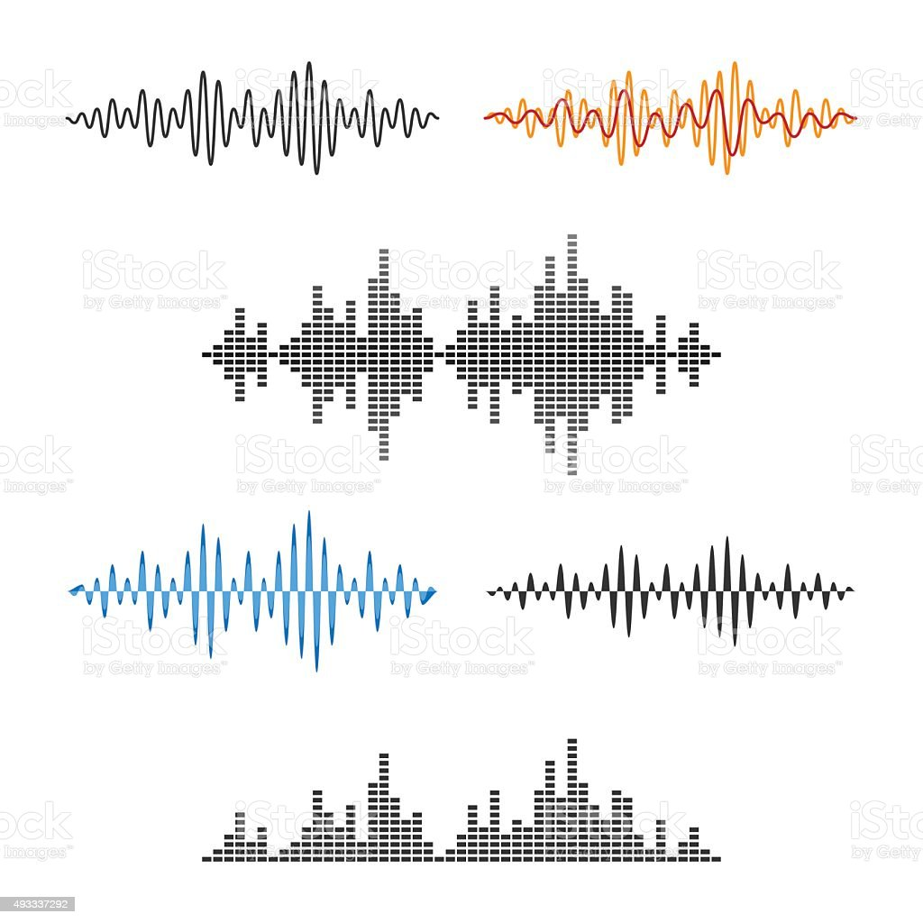 Waveform Shape. Soundwave. Audio Wave Graph Set. Vector vector art illustration