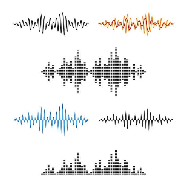 waveform shape. soundwave. audio wave graph set. vector - sound wave stock illustrations, clip art, cartoons, & icons