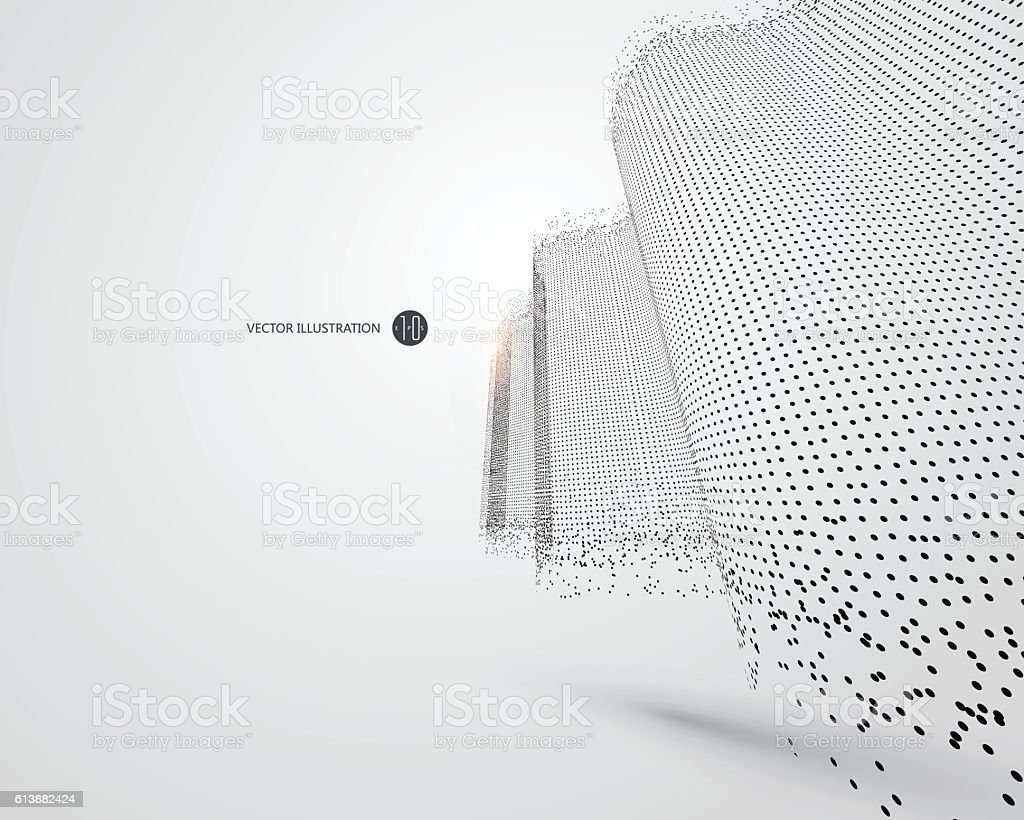 Wave-like pattern composed of particles, science and technology illustration. - Illustration vectorielle