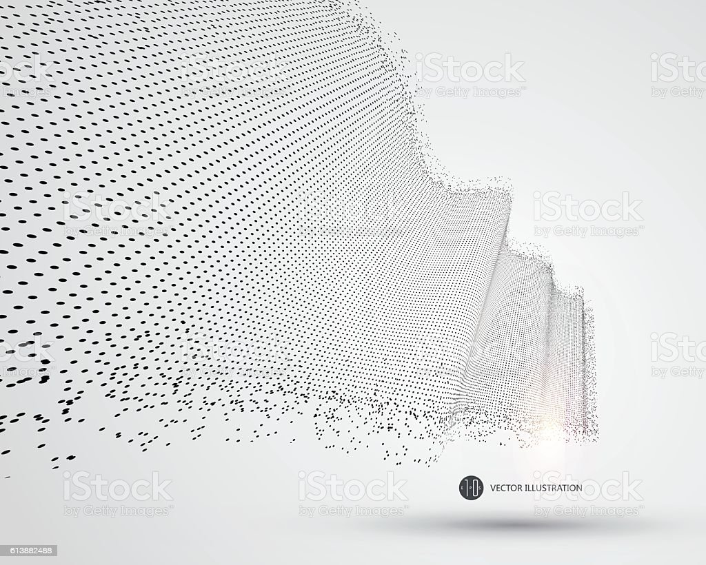 Wave-like pattern composed of particles, science and technology illustration. vector art illustration