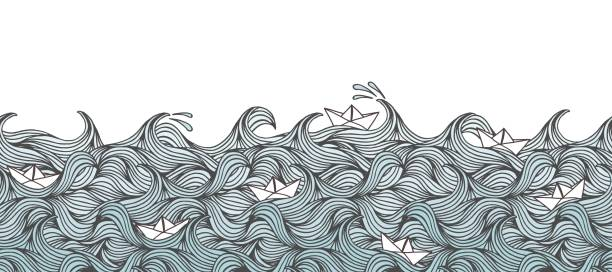 waves and cute little paper boats - banner - river paper stock illustrations, clip art, cartoons, & icons