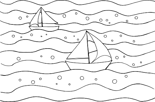 Waves and ships Coloring Page. Summer print for Coloring Book for children. Black and white sea and boats. Antistress freehand sketch drawing. Vector illustration.