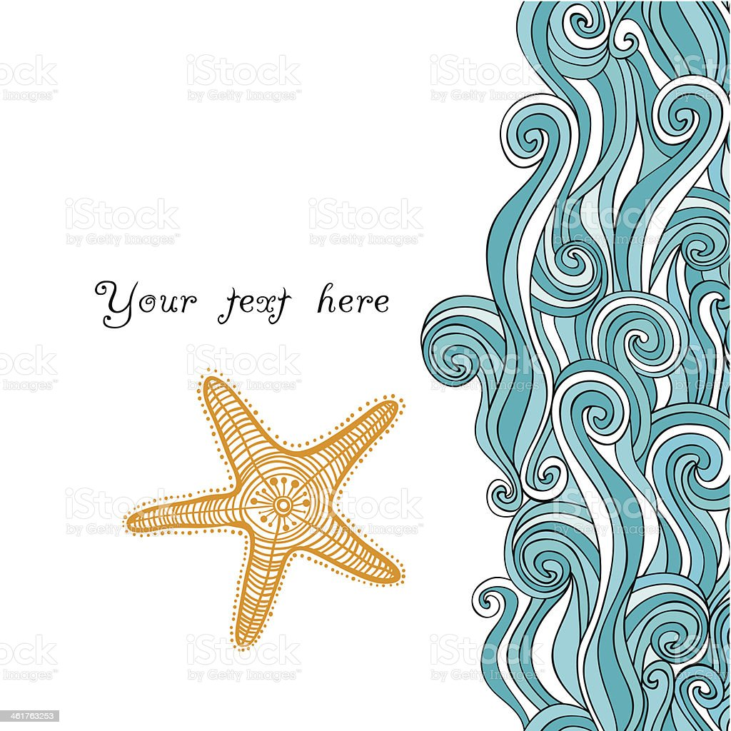 Waves and starfish background paper vector art illustration