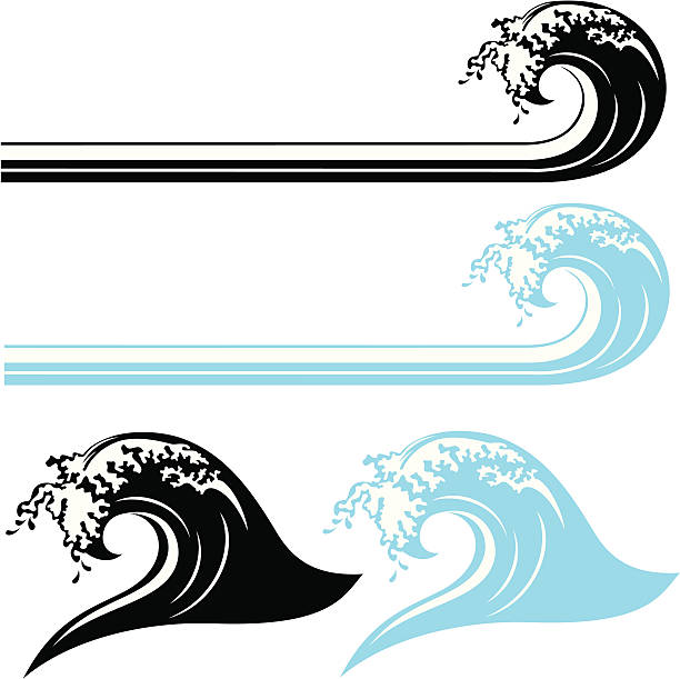 waves, black and white & color - tidal wave stock illustrations, clip art, cartoons, & icons
