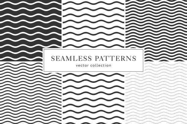 waves geometric seamless pattern - бесшовный узор stock illustrations
