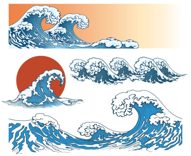 Waves in japanese style Waves in japanese style. Sea wave, ocean wave splash, storm wave. Vector illustration japanese culture stock illustrations