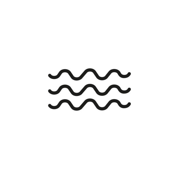 Waves line icon Waves line icon. Sea, ocean, wet. Meteorology concept. Vector illustration can be used for topics like water, weather, climate heat wave stock illustrations