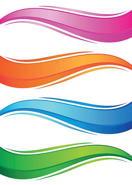 Wellen aus bunten Banner Satz – Vektorgrafik
