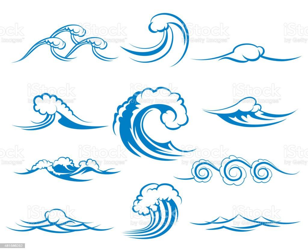 Waves Of Sea Or Ocean Waves Vector Illustration Stock ...